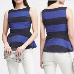 Banana Republic Blue Striped Flounce Peplum Top 6
